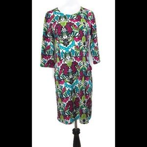 Tracy Negoshian Pink (Magenta) Green Floral Dress